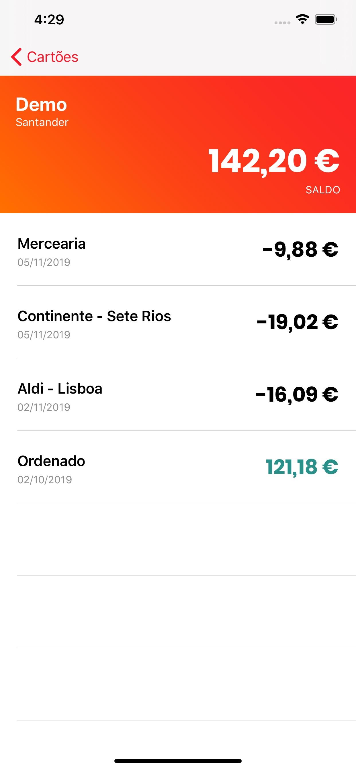 Mealcard app